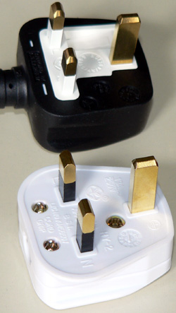 Examples of rewireable, and moulded on plugs