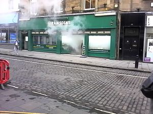 A pawnbroker's shop shortly after a smoke bomb has been activated