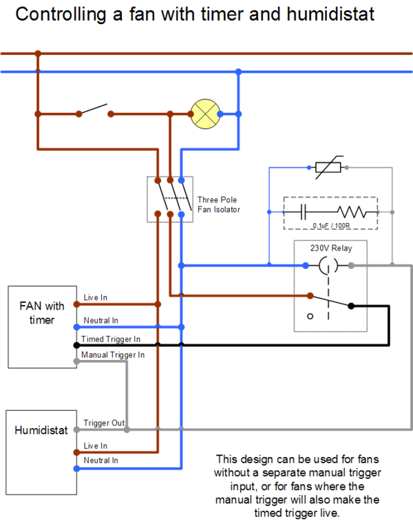 Wiring Diagram For A Timed Extractor Fan : Extractor fan wiring diywiki